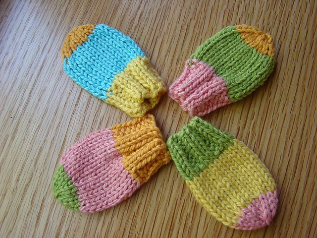 Knitting Patterns For Baby Mittens : Thumbless baby mitts! You could add a simple crochet chain between them to ma...