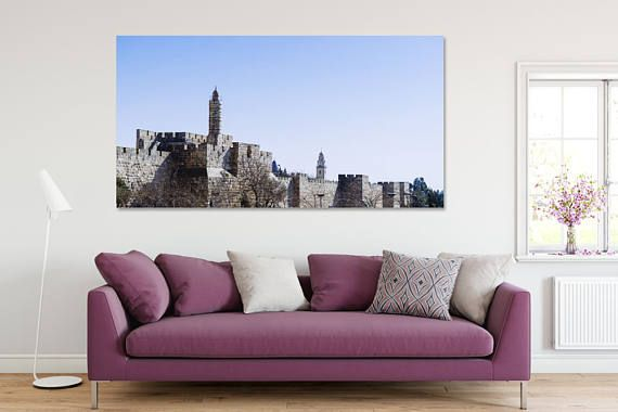 Printable Canvas Paper Wall Art - The Old City, Israel in the evening