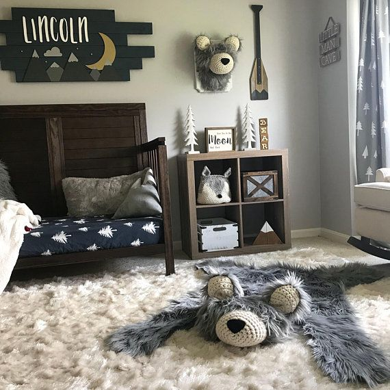 Nursery Rug / Regular size Gray Bear Rug / camping room plush