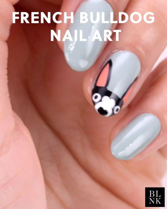 French Bulldog Nail Art Tutorial #nailart #nailartutorial #nailvideos #frenchbul…