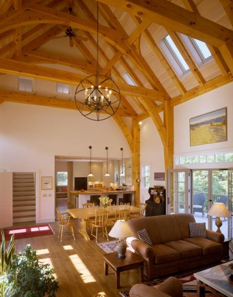 A Timber Frame Family Gathering Place Maine Custom Timber Frame Home Builder Houses And