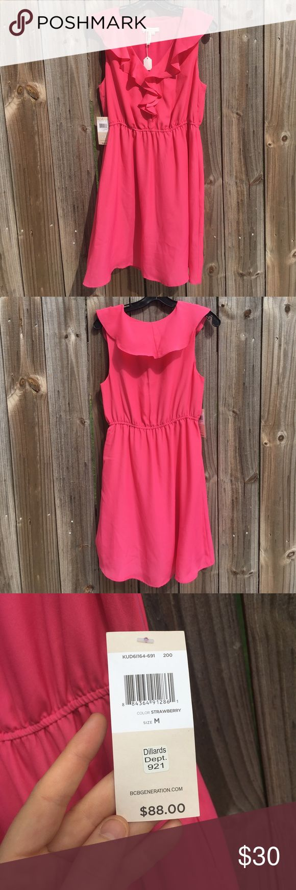 NWT Pink Ruffle BCBGeneration dress Great ruffle dress perfect for dressing up or down! Ruffle front with three clasps for varying necklines. Scrunch waist and pockets! Lined dress. Brand new with tags. BCBGeneration Dresses