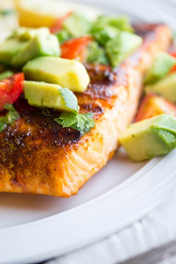 This simple grilled salmon has a brown sugar-chili rub, and is topped with a delicious 5-minute avocado and cherry tomato salsa. Ready in 20 minutes!
