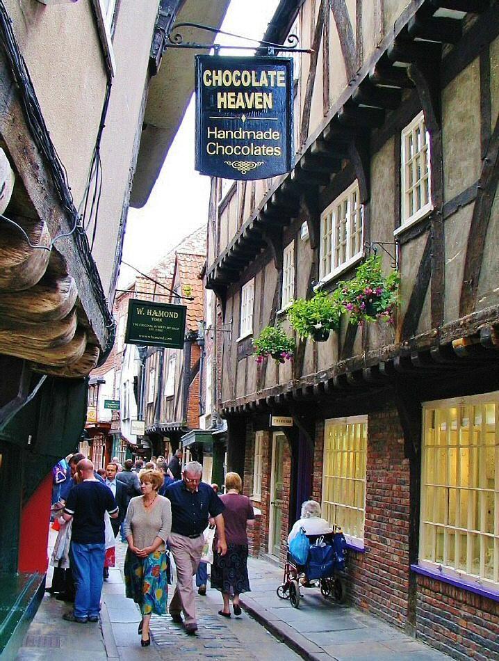 Calle medieval The Shambles en York al norte de Inglaterra