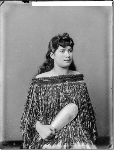 Old Maori Women: Portrait Of A Young Maori Woman Identified As Mere Wearing