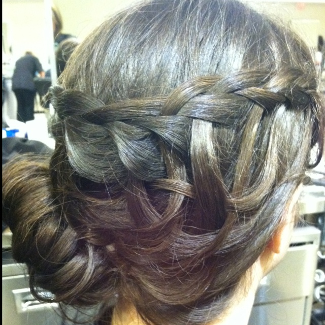 Summer Updo With Waterfall Braid To A Low Side Messy Bun Weave Waterfall Pieces And Pin