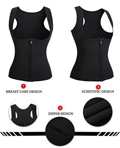 09793e17275 Newbby Womens Sauna Neoprene Sweat Waist Trainer Vest Slimming Body Shaper  Cincher Tank Top Shirt with