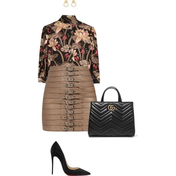 A fashion look from September 2017 by styledbyreen featuring Loewe, Christian Louboutin and Gucci