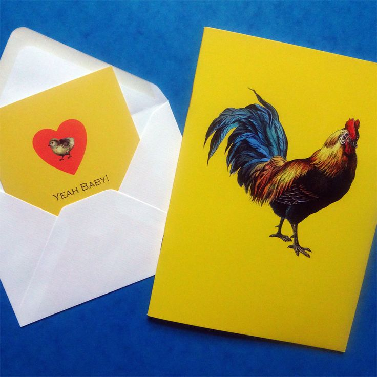 Yeah baby! Spring time yellow is getting us all warmed up after a long, cold winter. Yeah Baby card and Cockerel notebook.