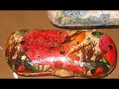 Decoupage tutorial - DIY. How to decorate a pen/gift/glasses box. Crackle varnish. - YouTube