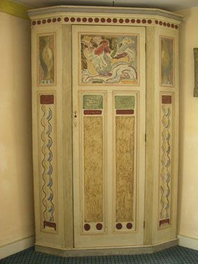 Cupboard, 1901-1910, wood, maker unknown, decorated by Duncan Grant circa 1930, for Clive Bell's rooms in Gordon Square, London, 205 cm x 133 cm x 96 cm. Prov: Clive Bell, brought to Charleston 1939.
