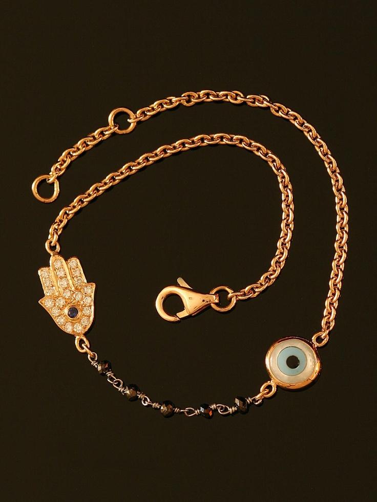 Evil Eye and Diamond Hamsa Bracelet at London Jewelers.