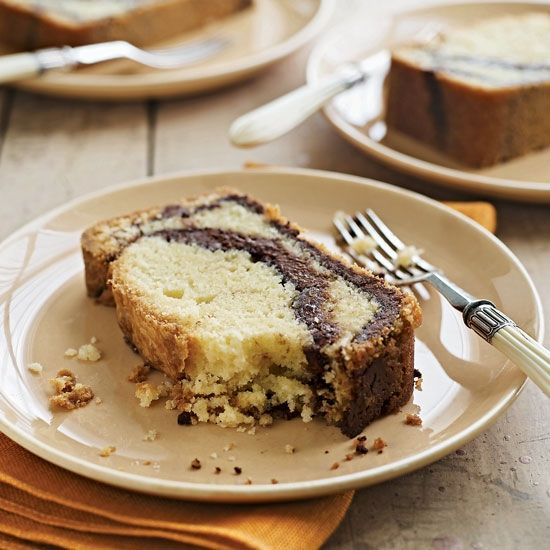 Nutella-Swirl Pound Cake | Lauren Chattman makes this pound cake especially rich by swirling in the chocolate-hazelnut spread Nutella. She recommends serving the cake with coffee ice cream.  Cake for birthday  #cakerecipe  #sweet