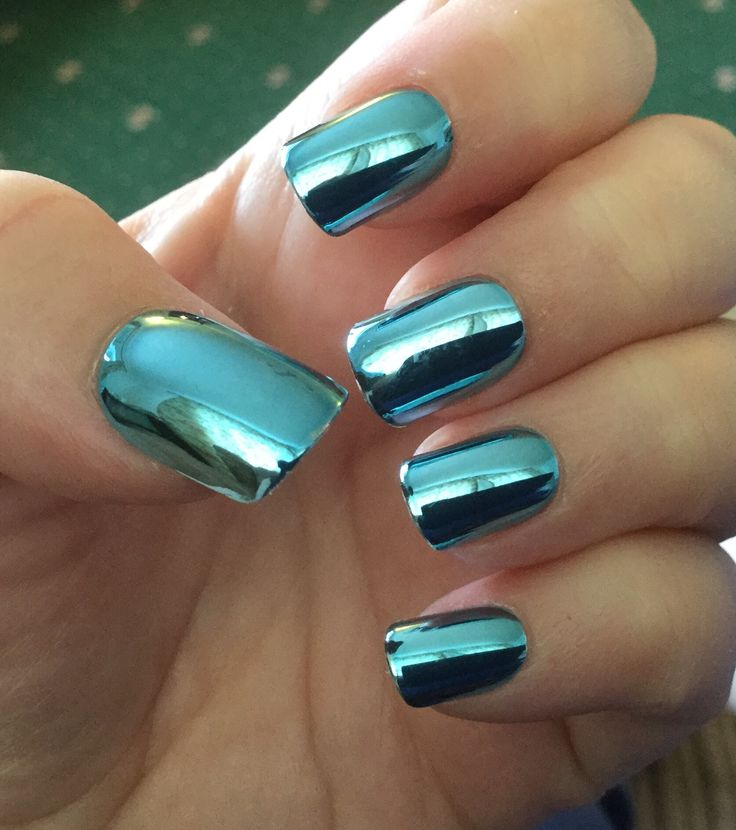 Blue Chrome Nails