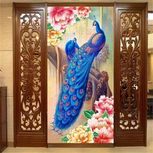 Peacock and Peony flower Photo Wallpaper oil painting effect Wall Mural Wallpaper Silk Room decor Door Art Corridor Hallway(China (Mainland))