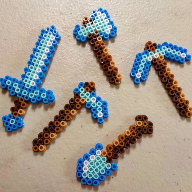 Minecraft tools mini perler beads by melody_aka_eve