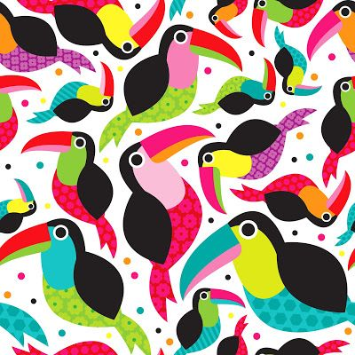 little smilemakers:  Colorful Toucan retro kids pattern and other surface pattern news