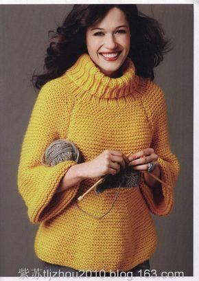 Мобильный LiveInternet Жёлтый свитер-реглан платочной вязкой   tatMel - Дневник tatMel  
