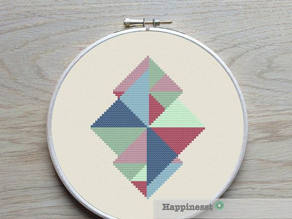 modern geometric cross stitch pattern, PDF pattern ** instant download**