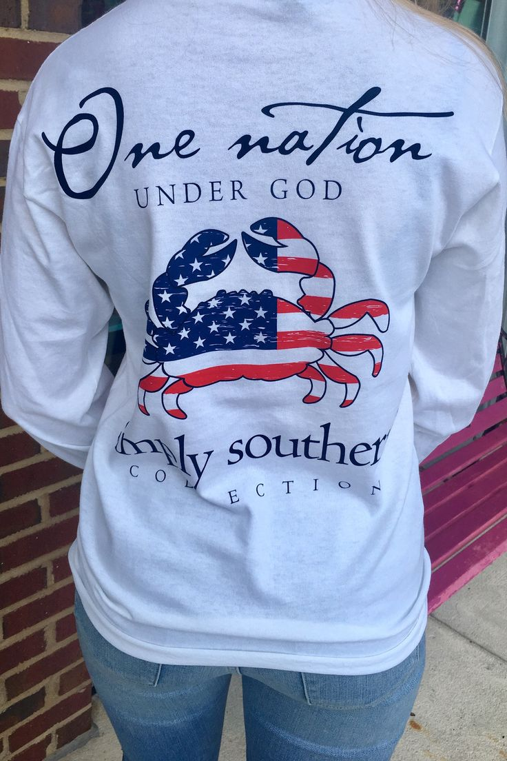 One Nation Simply Southern Long Sleeve- White from Chocolate Shoe Boutique