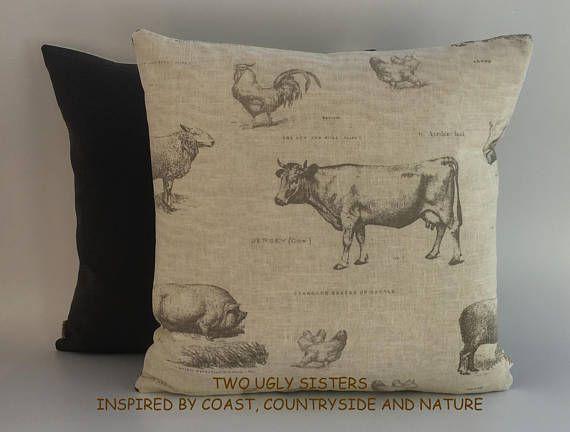 Farm Animal Print Cow Pig Cushion Cover Farm Animal Fabric