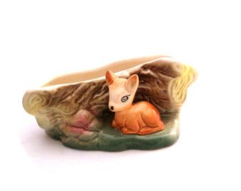 Eastgate Deer Vase, Deer Planter, Eastgate Pottery, Like Hornsea, Woodland Vase, Bambi Vase, Ceramic Vase, Fawn Vase, Fauna Posy Vase