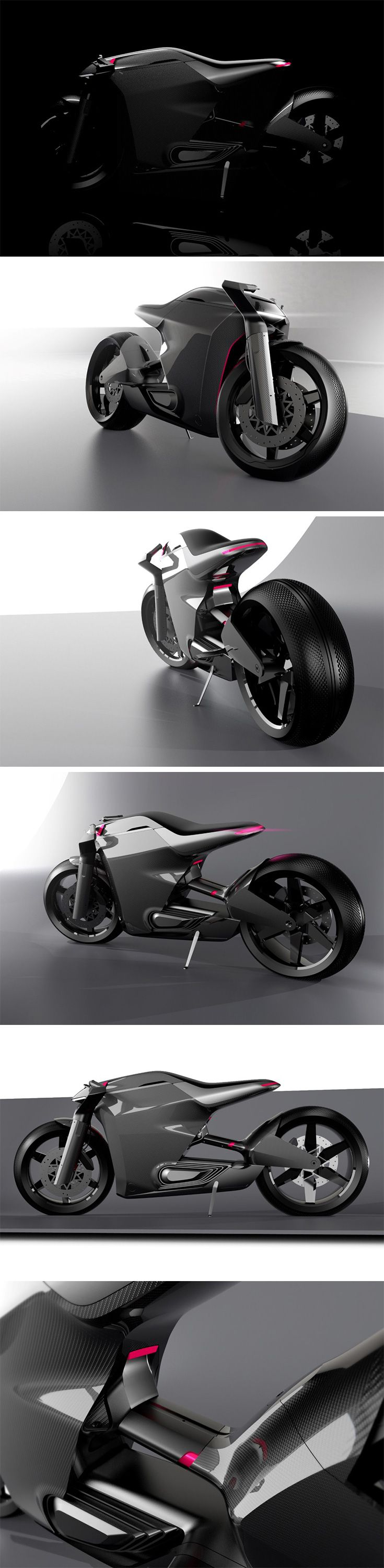 Two Wheels, by Gregor Duler started as a form exercise. It was born out of an attempt to merge two distinct bike types, the Cafe Racer, and the Naked Bike. With a little creative licence, design details began defining the bike, giving it an absolutely unique character.