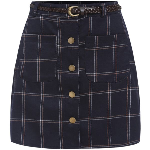 Single Breasted Plaid Skirt (£11) ❤ liked on Polyvore featuring skirts, mini skirts, bottoms, saias, faldas, navy, navy blue plaid skirt, plaid skirt, tartan skirt and navy blue skirt