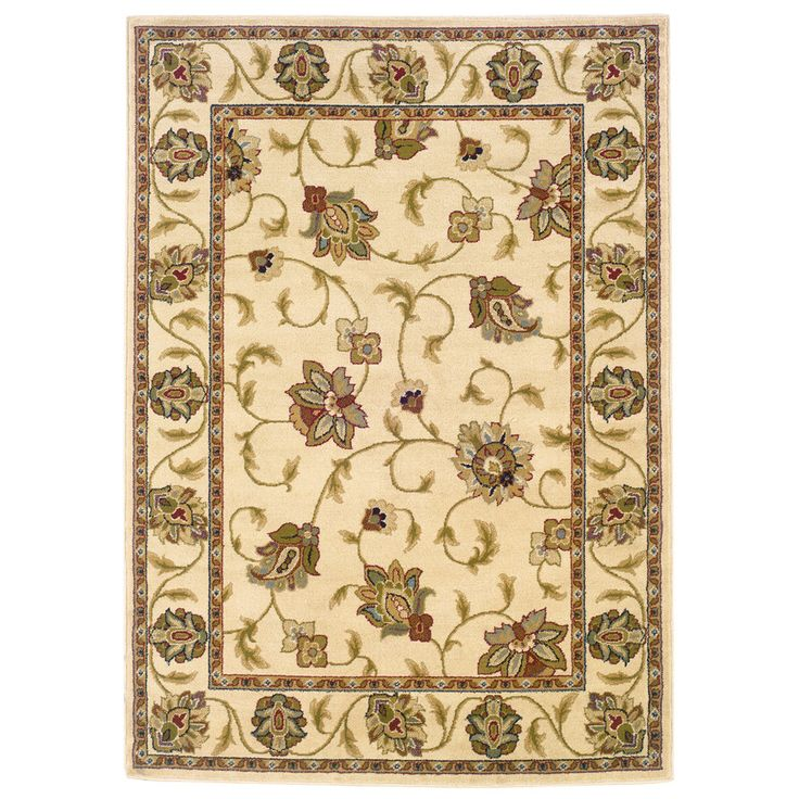 Shop Oriental Weavers Of America Addison Rectangular Cream Floral Woven Area  Rug (Common: 8