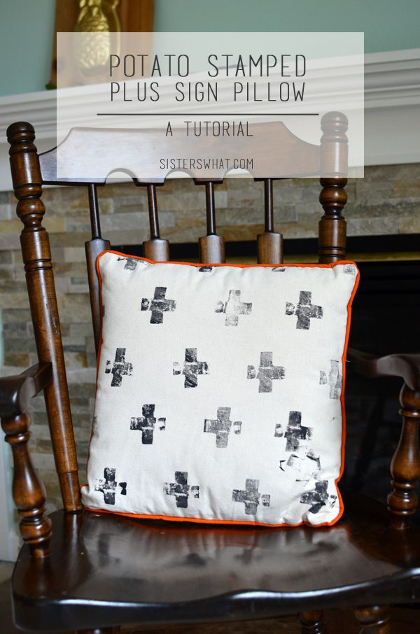 Potato Stamped Plus Sign Pillow | Sisters, What!