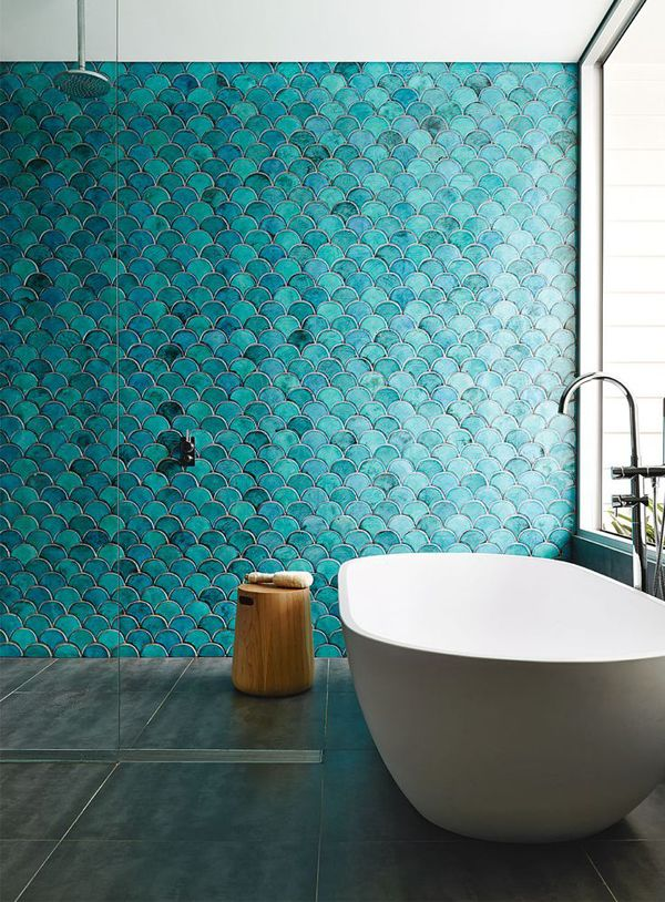 Turquoise Fishscale Bathroom Tiles | #bathroom #turquoise #interior #decoration #tales