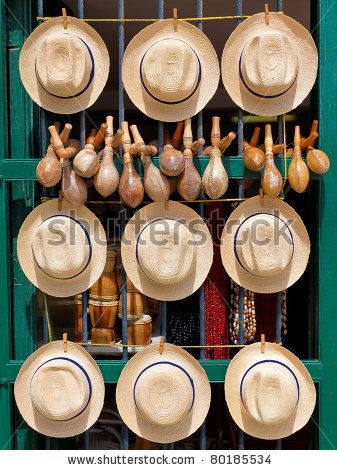 Hats, musical instruments,religious necklaces and other traditional craft for sale in Havana - stock photo