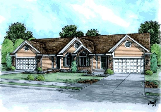 Ranch Traditional Elevation of Plan 68718