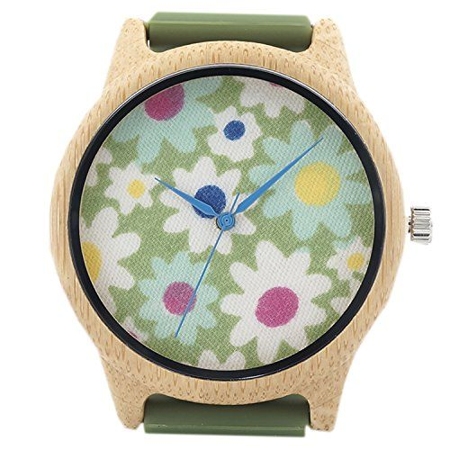 WJLI012Green flower Women Bamboo Wooden Watch flower fabric rubber strap >>> Want additional info? Click on the image.