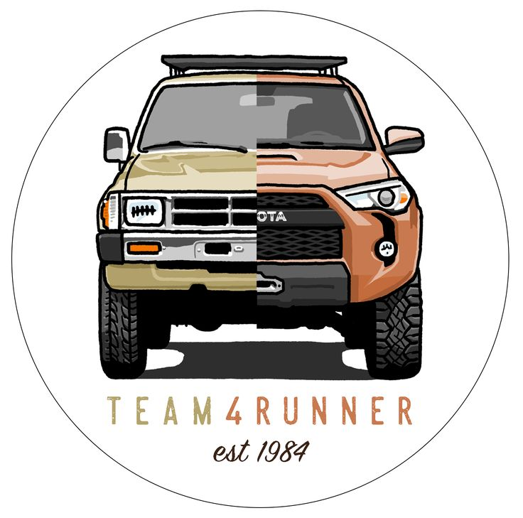 The Team4Runner Heritage StickerRounded, Weather Proof, with a white vinyl background3x3 Inches, built for your rear window or…