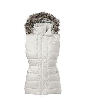 This warm 550-fill down insulated jacket by The North Face stays true to classic mountain styling with high-loft baffles protected by a DWR (durable water repellent) finish. The feminine fit removable faux-fur trim at the hood give this jacket added style. Buy Now http://www.outsidesports.co.nz/outdoor-sports-gifts-for-her/TUCYL0/The-North-Face-Gotham-Vest---Women's.html#.VybibnpnHpI