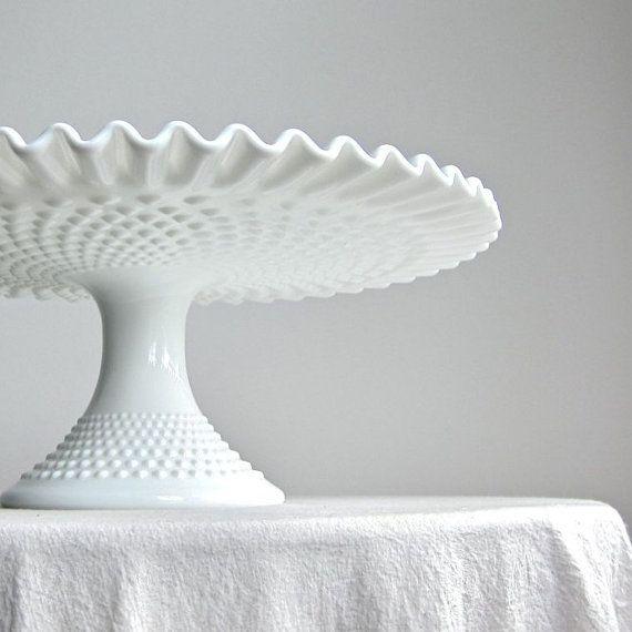 Fenton Hobnail Milk Glass Cake Pedestal