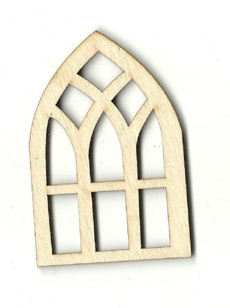 Window Unfinished Laser Cut Wood Shape BLD4