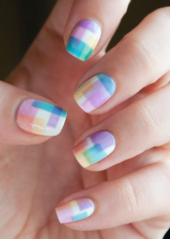 Nailpolis Museum of Nail Art | Geometrical Sheer Tints by Chasing Shadows