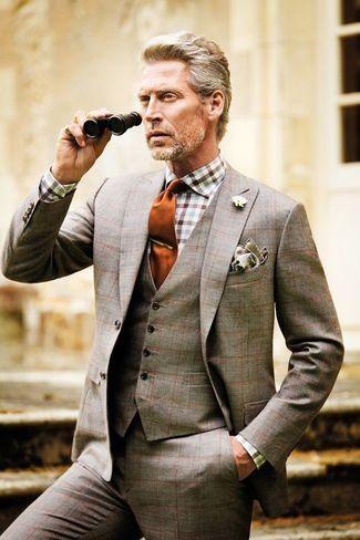 Men's Grey Plaid Blazer, Grey Pocket Square, Grey Plaid Waistcoat, Orange Tie, White and Brown Gingham Dress Shirt, and Grey Plaid Dress Pants