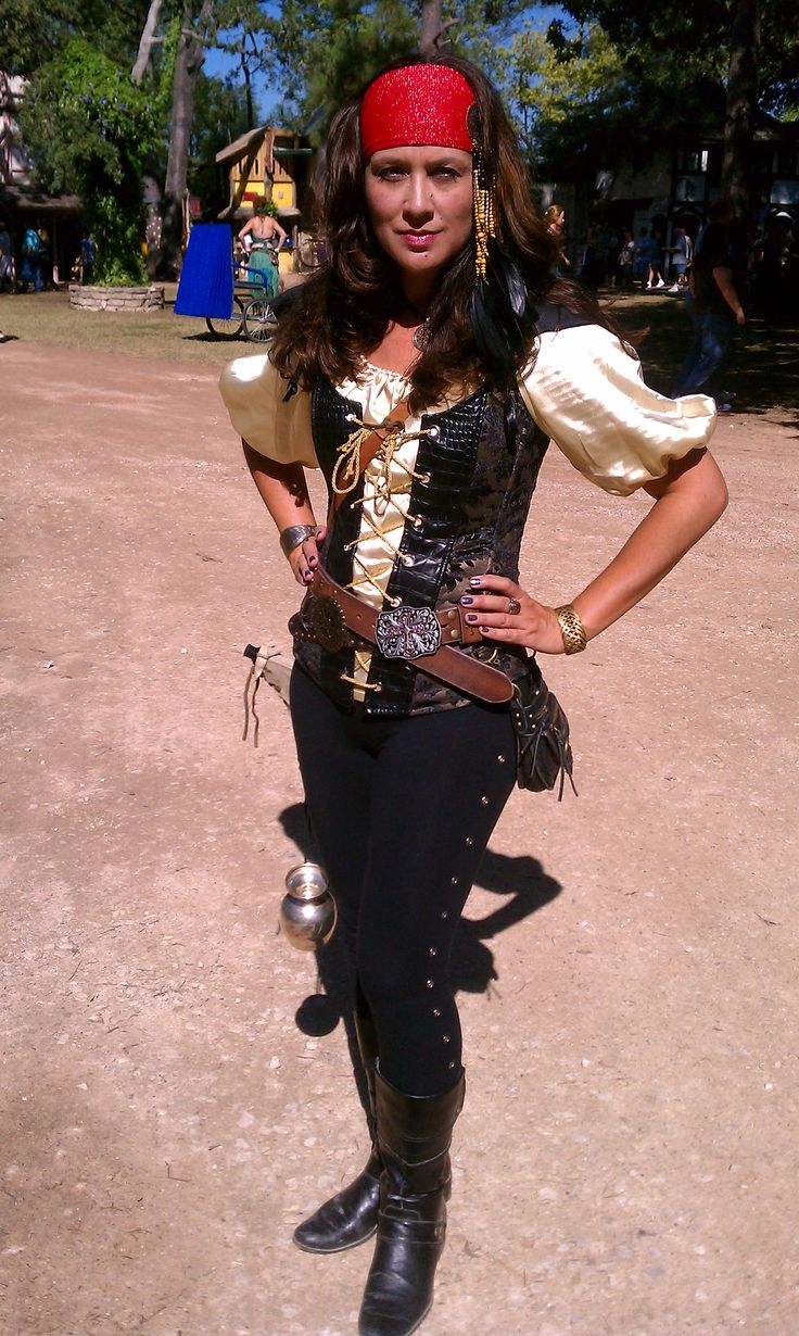 My pirate costume with leggings & a short sleeved chemise.
