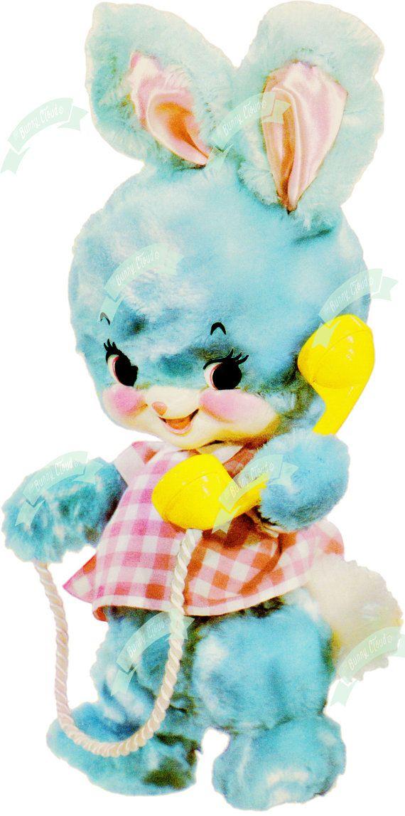 Vintage Digital download Cute Miss Bunny Vintage greeting