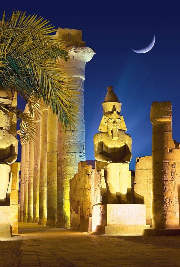 Moon and The Temple of Luxor, Egypt