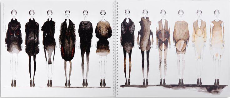 Fashion collection sketchbook drawings #illustration #design neutral beige & black womenswear