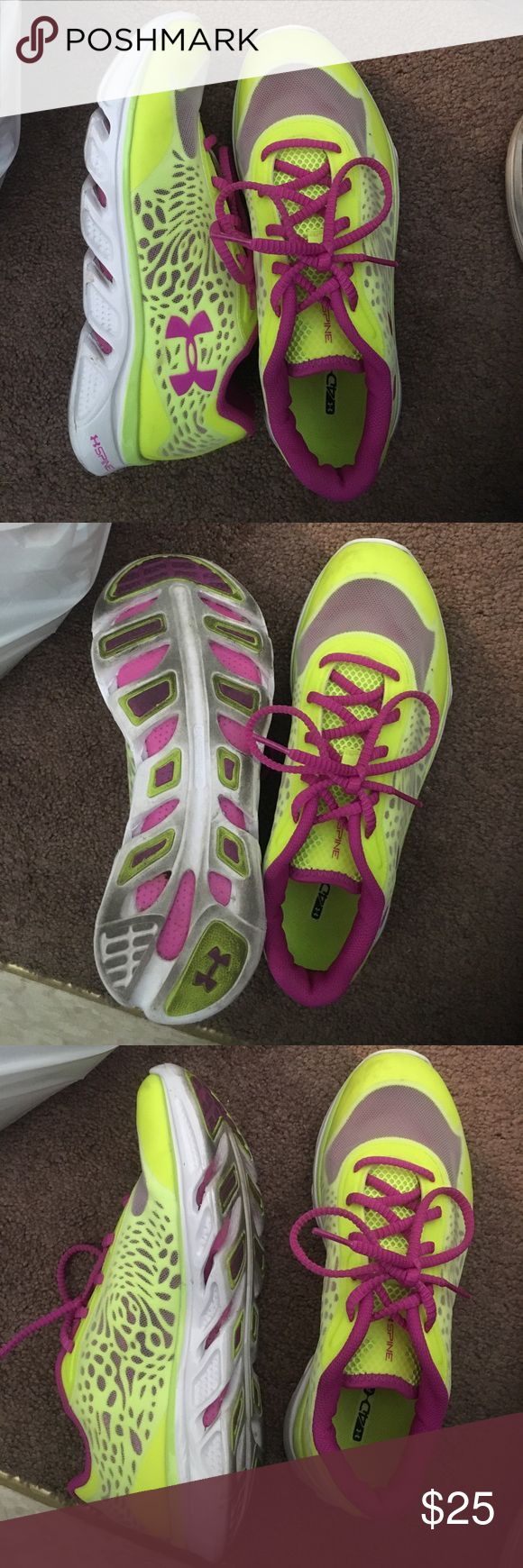 Under Armour Neon Running Shoe Only worn once. Bright color! Great condition! Under Armour Shoes Athletic Shoes