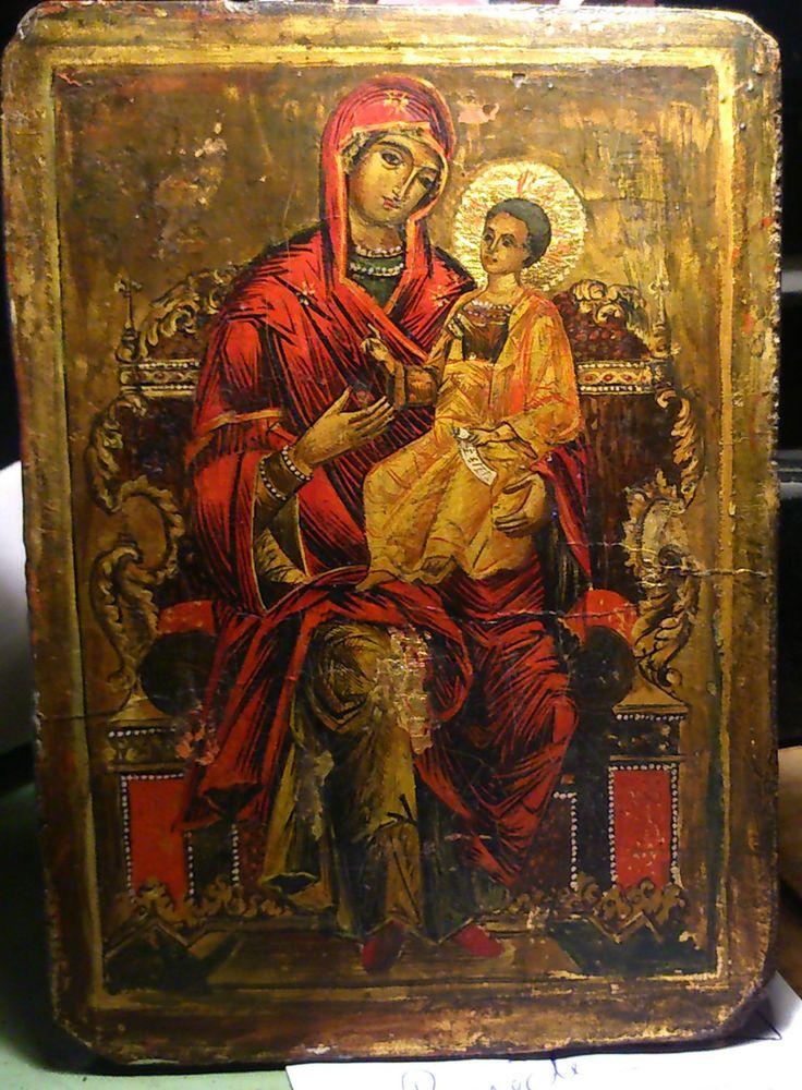 Icône Vierge à l Enfant Russie XIX XXe TEMPERA PEINTURE sur BOIS à fond OR 14X20