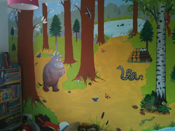 "My little girls gruffalo bedroom mural. I hand painted background and used stickers from "" funtosee "" gruffalo room makeover set."