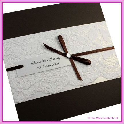DIY Invitations Lace : Do It Yourself Wedding Invitation   Urban Brown  White Rose LaceComplete DIY Invitation Kit By Truly, Madly, Deeply.
