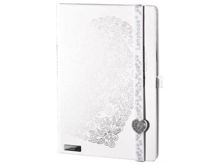 Krásný Lanybook v bílé barvě s potiskem a Lanybuttonem ve tvaru srdce.
