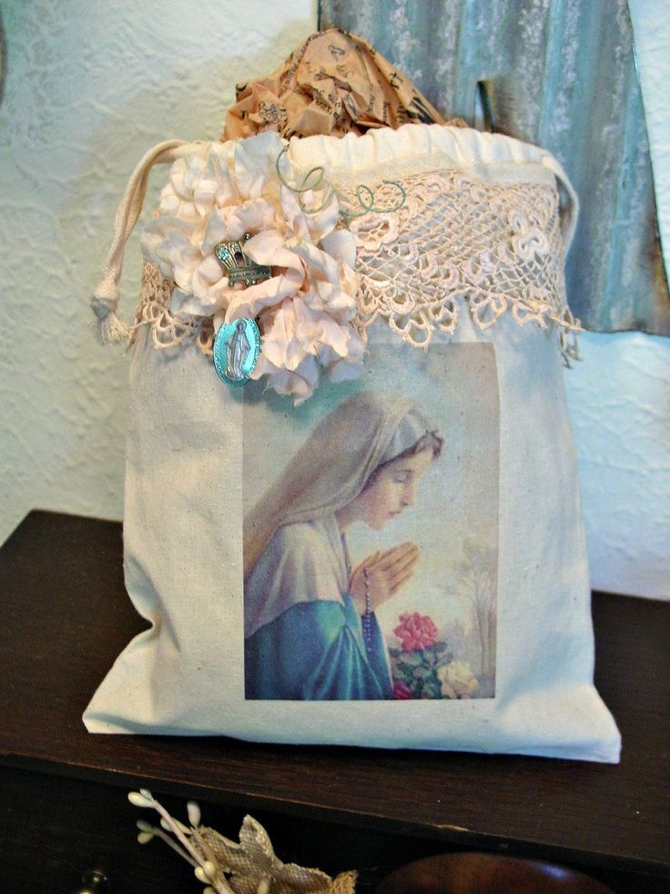 Madonna Gift Bag - Storage Muslin Tote - Blessed Mother - Religious Decor - Altered Art Bag - Virgin Mary and Crown by EdenCoveTreasures on Etsy